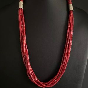 Jewelry - SterlingSilver MultiStrand Red Coral Bead Necklace